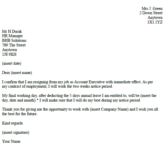 account executive resignation letter example