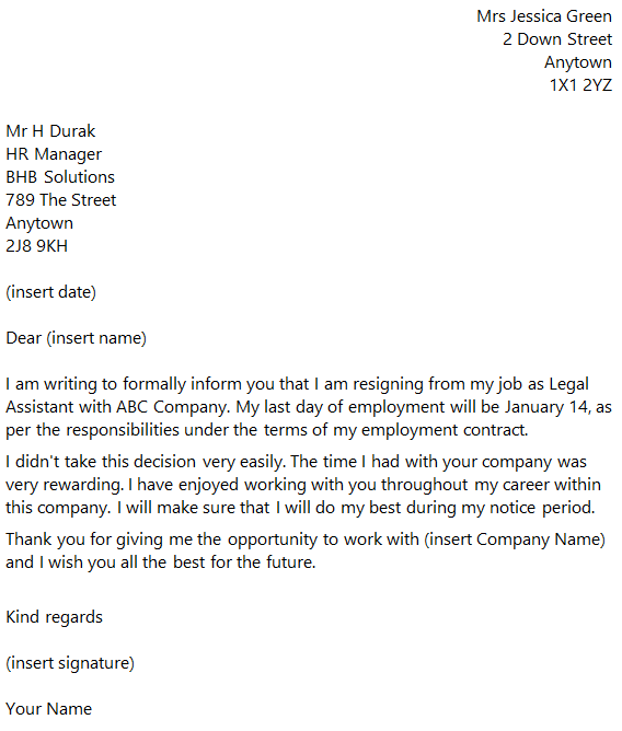 Legal Assistant Resignation Letter Example Toresign Com