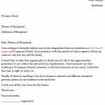 Part Time Job Resignation Letter Example