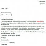 animal care resignation letter