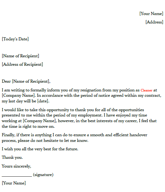 Letter Of Resignation Template from www.toresign.com
