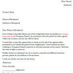 customer service advisor resignation letter