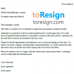 Short Notice Resignation Letter