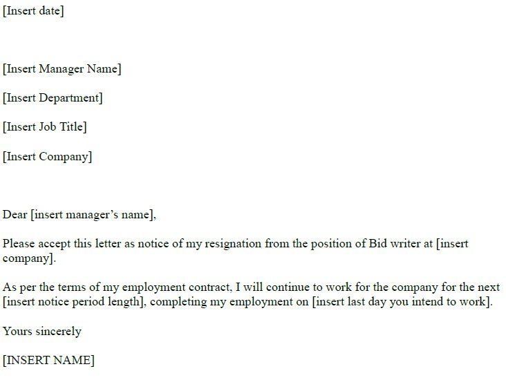 Bid Writer Resignation Letter Example