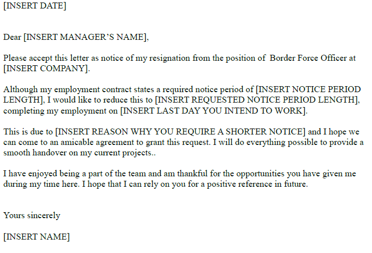 Border Force Officer Resignation Letter Example