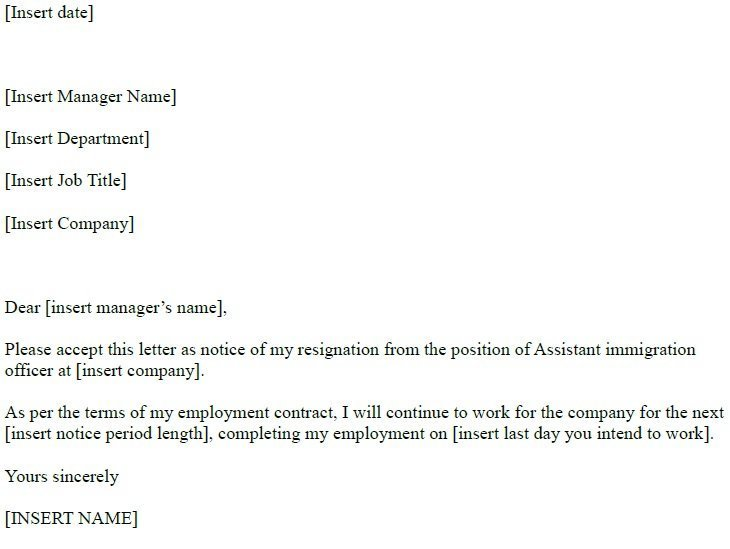 assistant immigration officer resignation letter
