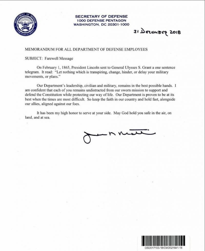 James Mattis Resignation Letter - toresign.com